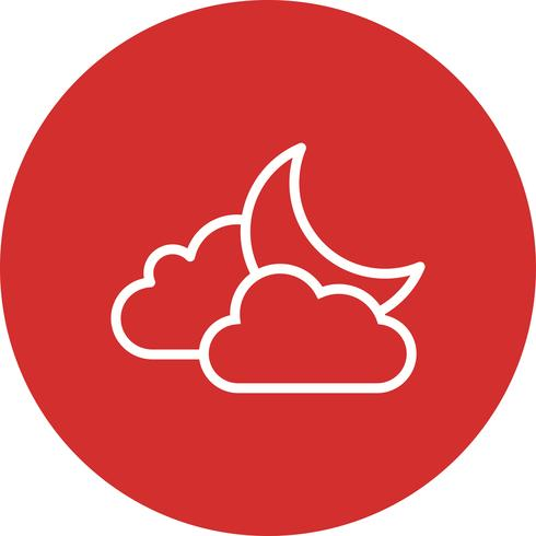 Cloud and Moon Vector Icon