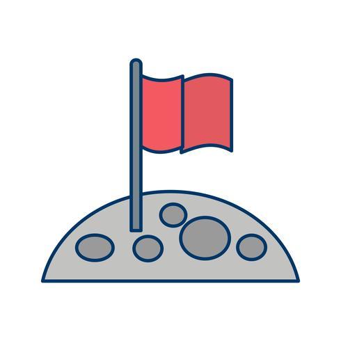 Flag At Moon Vector Icon