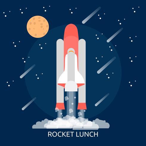 Raket lunch conceptuele afbeelding ontwerp