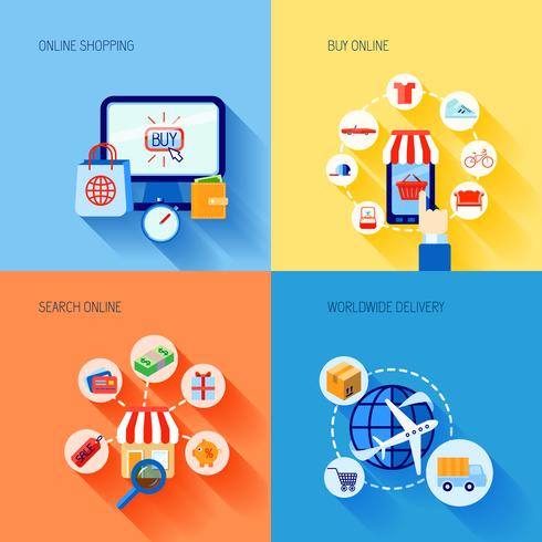 Shopping e-commerce icons set flat vector
