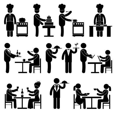 Medewerkers restaurant zwart