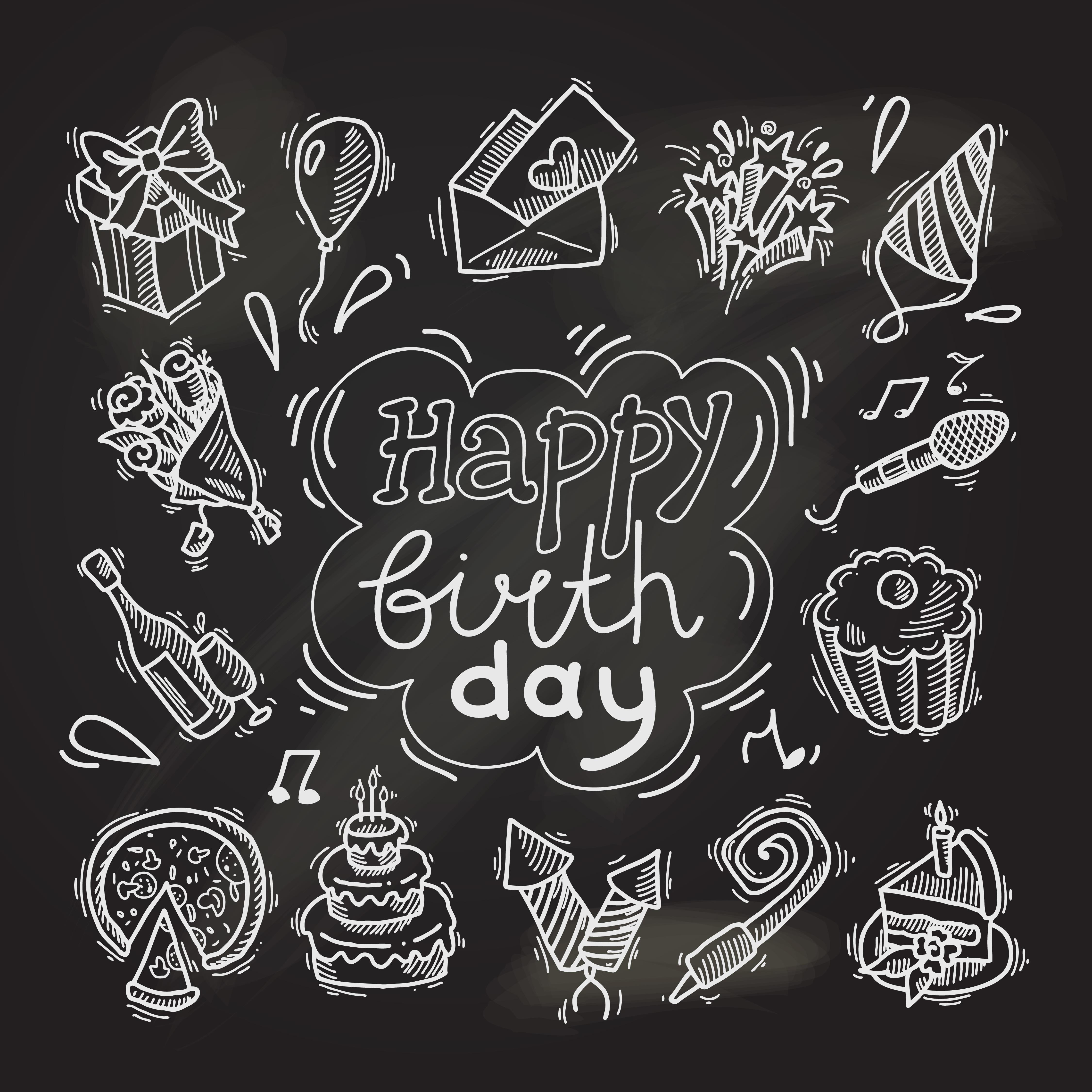 Birthday Sketch Chalkboard Download Free Vector Art