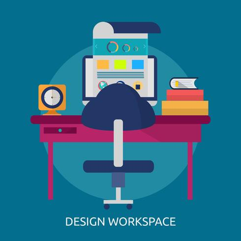 Progettazione concettuale dell'illustrazione dell'area di lavoro di progettazione
