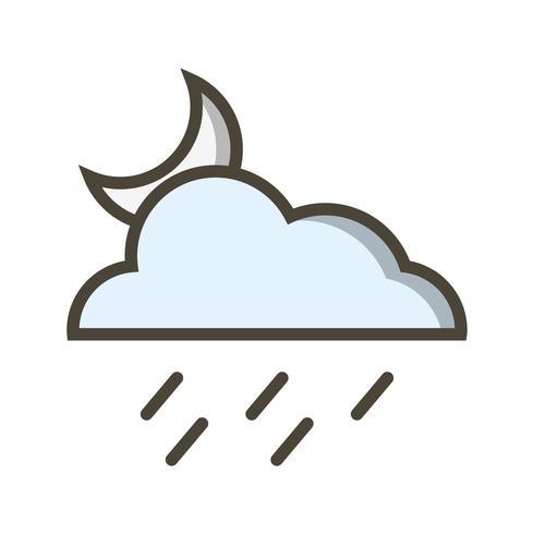 Ícone de vetor de chuva à noite