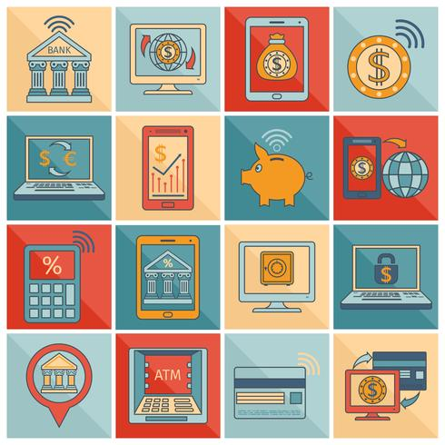 Mobile Banking Icons flache Linie