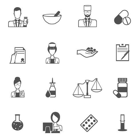 Conjunto de iconos negro de farmacéutico vector