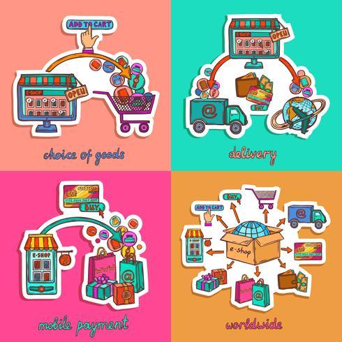 Set di illustrazione dello shopping online vettore