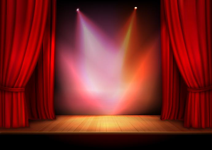 Curtain with lights vector