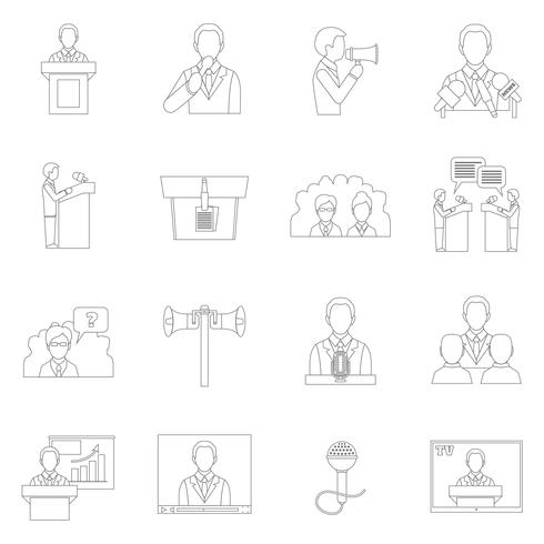 Public speaking icons outline
