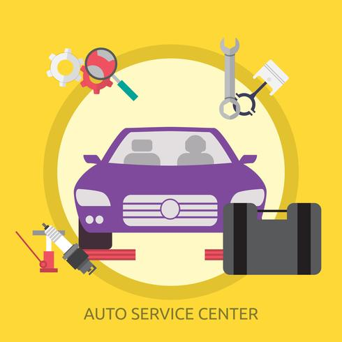 Auto Service Center Conceptual ilustración Diseño