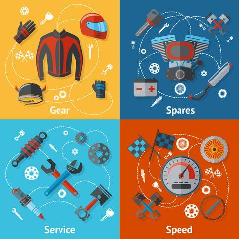 Conjunto de piezas de moto vector