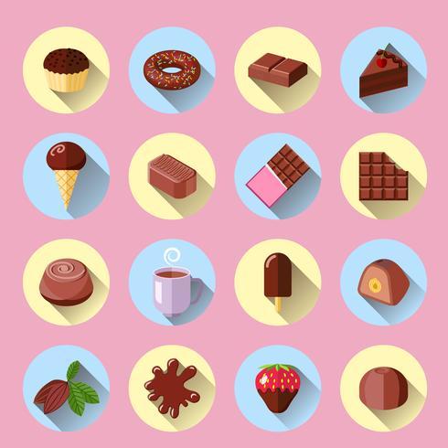 Iconos de chocolate planos