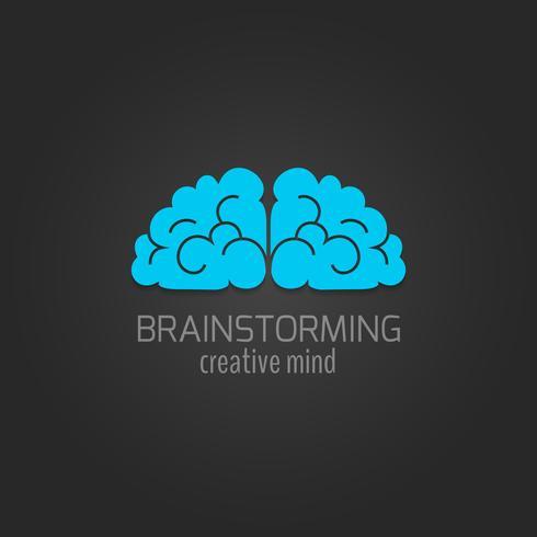 Icône du cerveau humain à plat vecteur