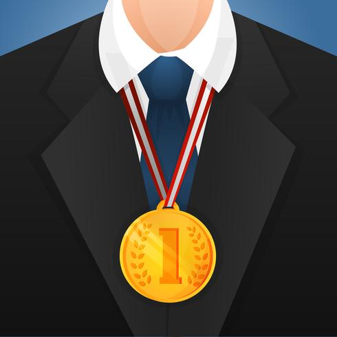 Businessman with medal