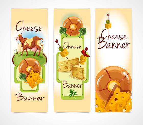 Banners de queijo verticais vetor