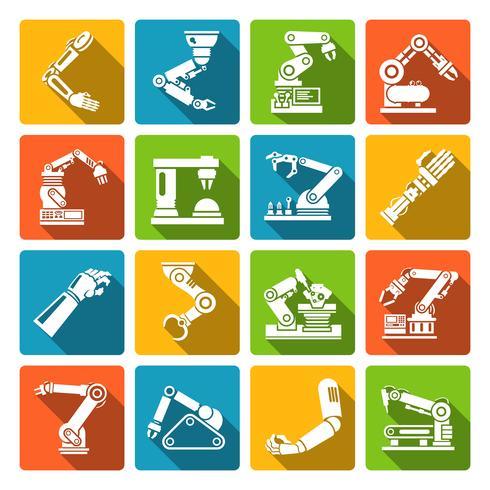 Iconos de brazo robótico planos vector