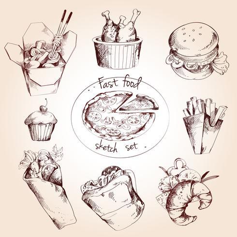 Fast food sketch set vector