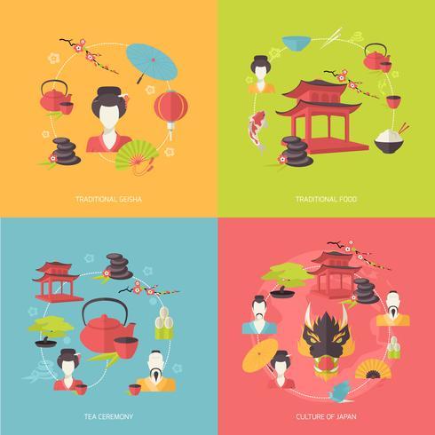 Ícones do Japão planas vetor