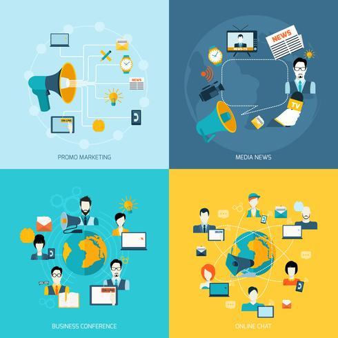 Iconos de comunicación establecidos planos