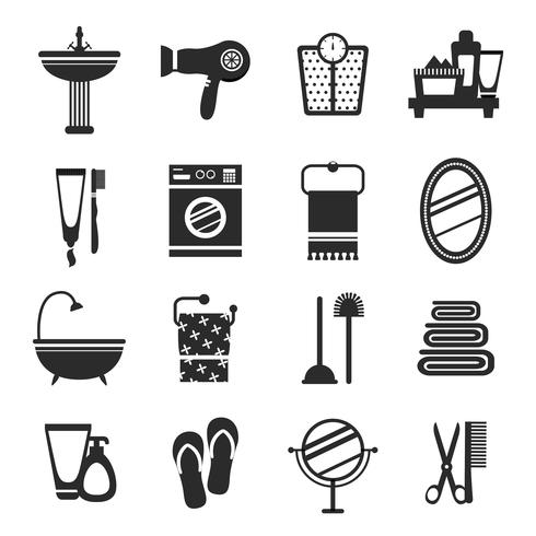 Bathroom icon set black and white vector