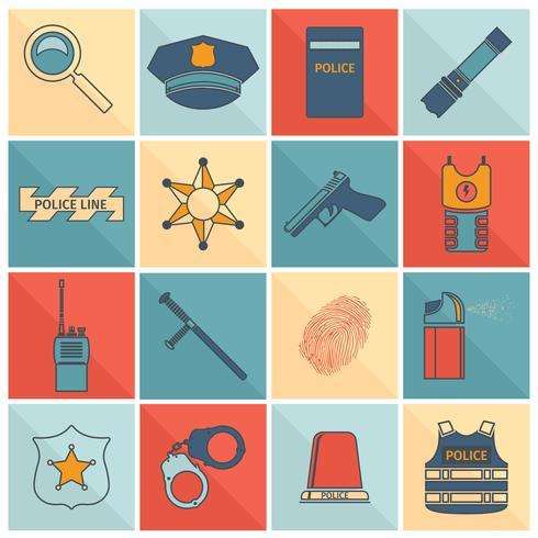 Icônes de police mis ligne plate