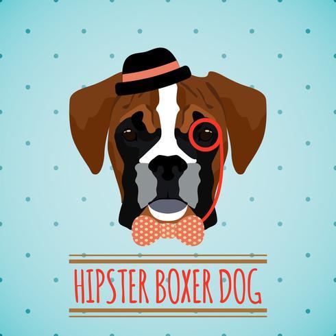 Hipster dog portrait vector