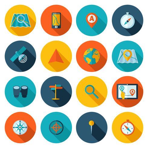 Conjunto de iconos de navegación plana vector