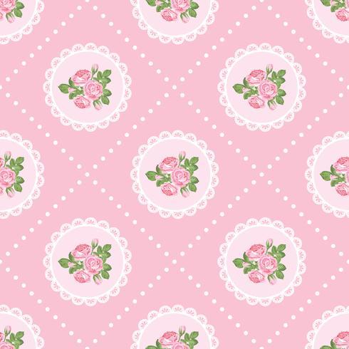 Shabby chic rose seamless pattern background