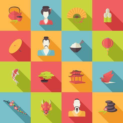 Iconos de Japón planos