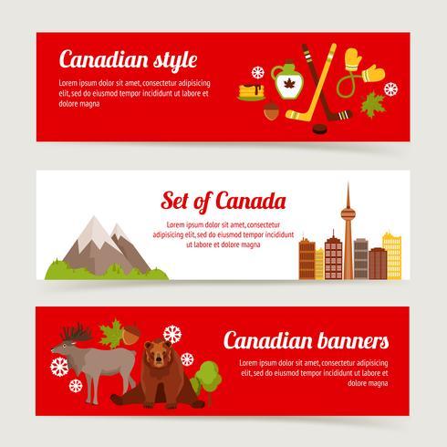 Conjunto de banners de Canadá vector
