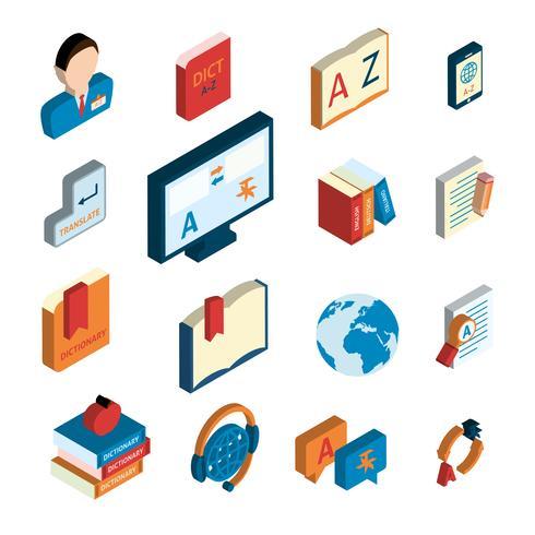 Conjunto de ícones de tradução e dicionário