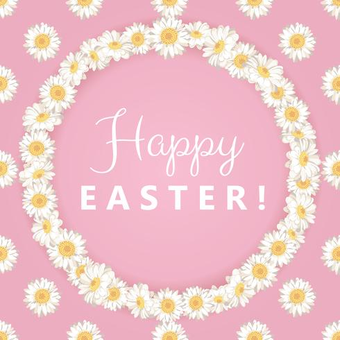 Happy easter card. Chamomile round frame on pink background vector