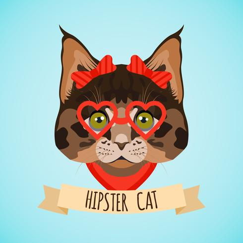 Portrait de chat hipster