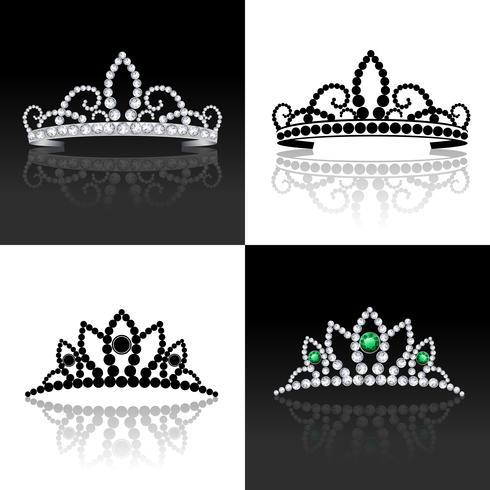 Conjunto de tiara isolado vetor