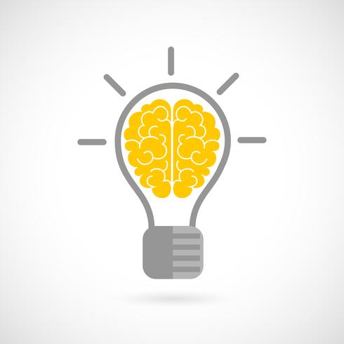 Menschliches Gehirn in Glühlampe flach