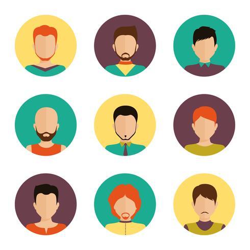 Conjunto de avatar de hombres vector