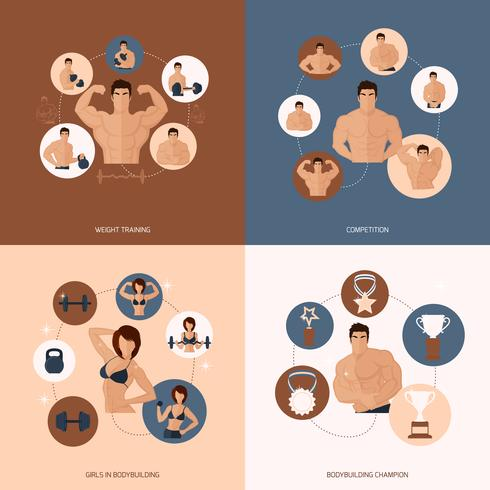 Bodybuilding fitness gym flat set vector