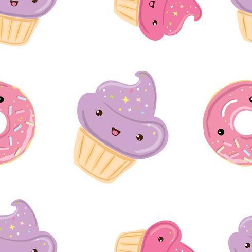 Modello senza cuciture con i dolci - ciambelle, cupcakes isolato su priorità bassa bianca. vettore