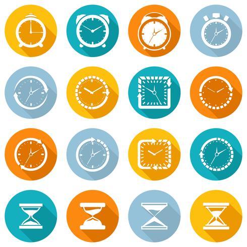 Conjunto plana de iconos de reloj