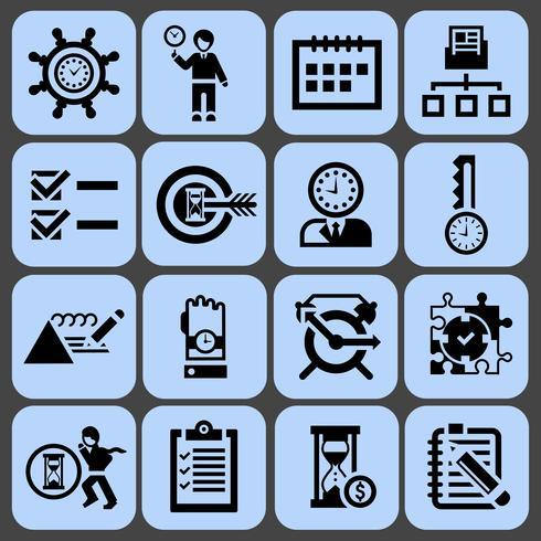 Time management pictogrammen zwart ingesteld