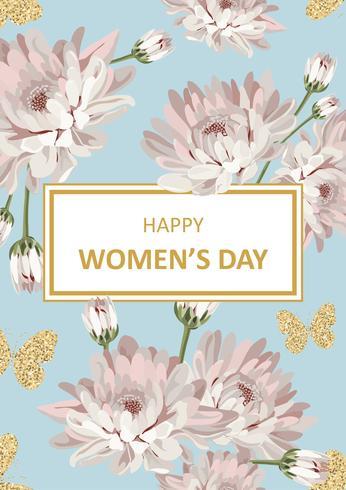 Happy women's day Shabby chic chrysanthemums vector