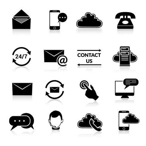 Kontakta oss ikoner uppsättning vektor
