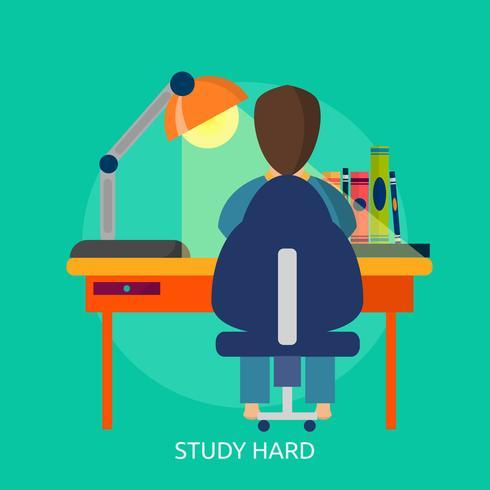 Bestudeer hard Conceptueel illustratieontwerp