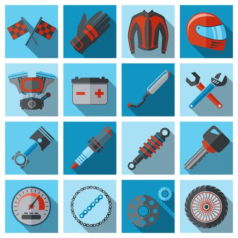 Motorfiets onderdelen flat set