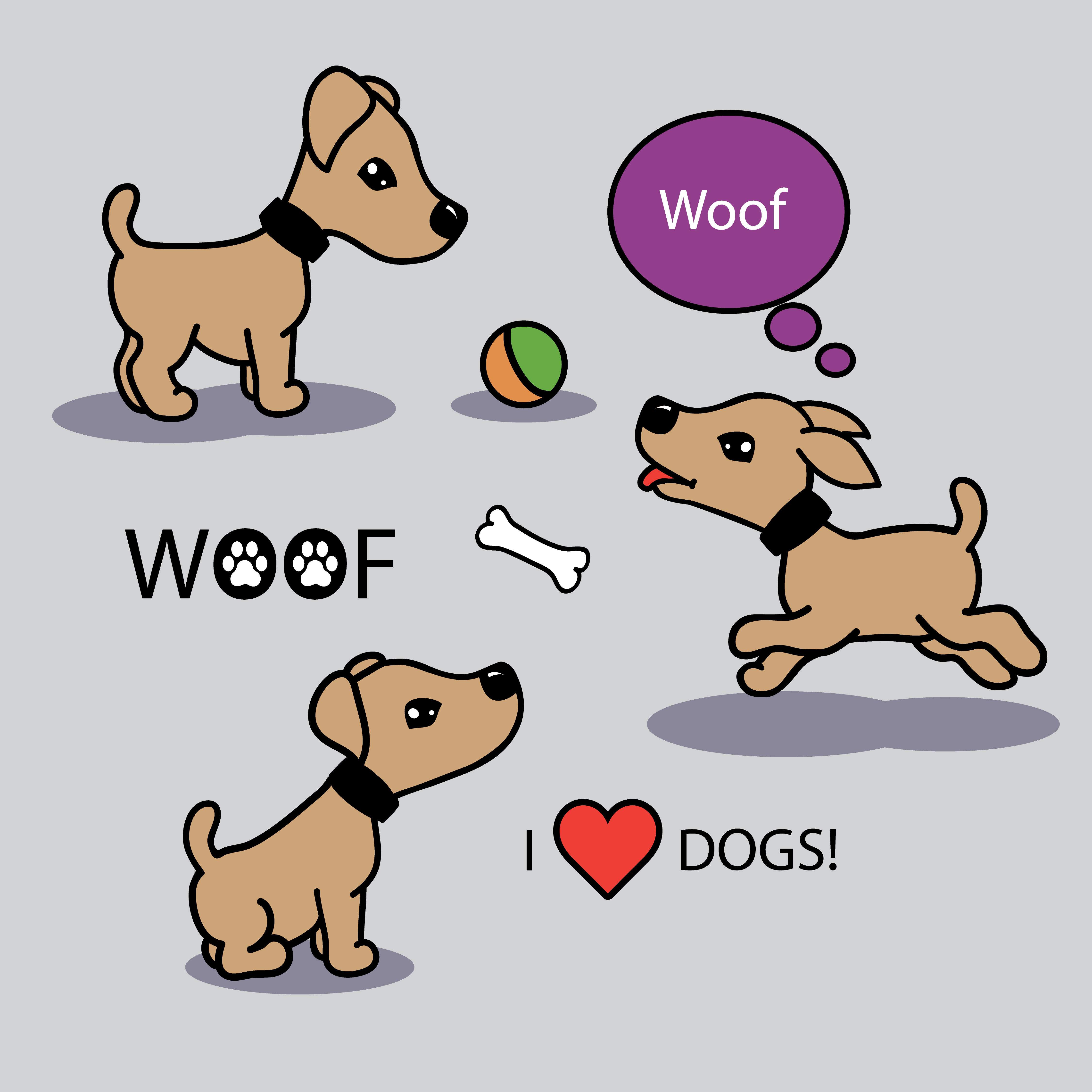 Vector set of funny cartoon dogs - Download Free Vectors ...