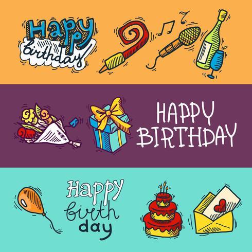 Conjunto de banners de bosquejo de cumpleaños vector