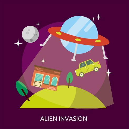 Alien Invasion Konceptuell illustration Design