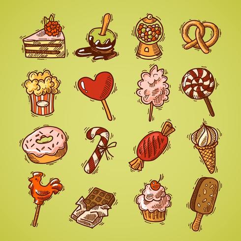 Cor de conjunto de ícones de esboço de doces