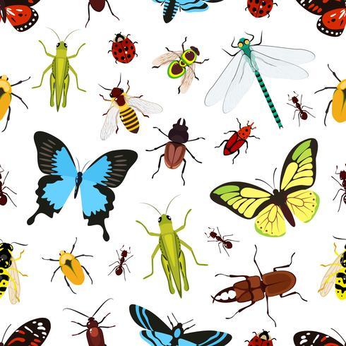 Insectos sin patrón vector