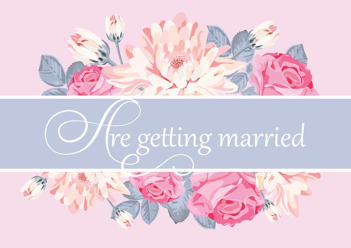 Floral card template with text are getting married